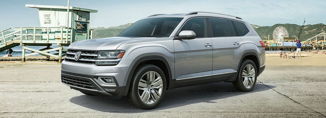 2019 VW Atlas silver exterior front fascia driver side parked on beach