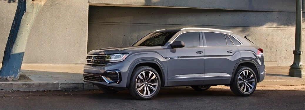 2020 VW Atlas Cross Sport grey exterior front driver side parked on side of road