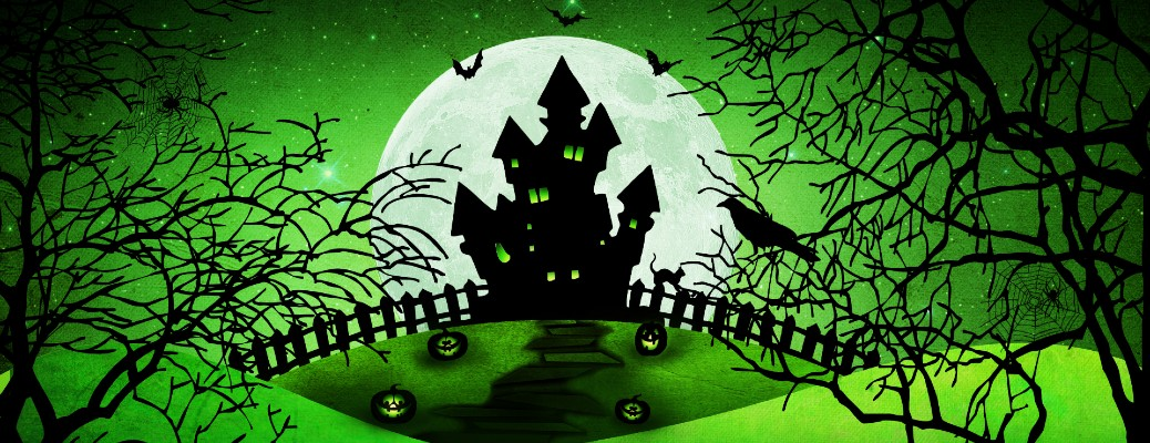 haunted house on hill black with green