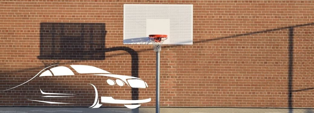 outdoor basketball court with car graphic