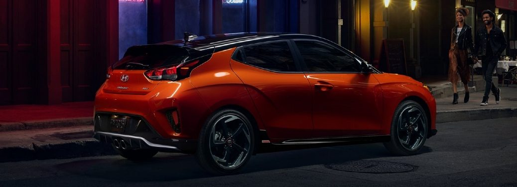 2020 Veloster parked near night club