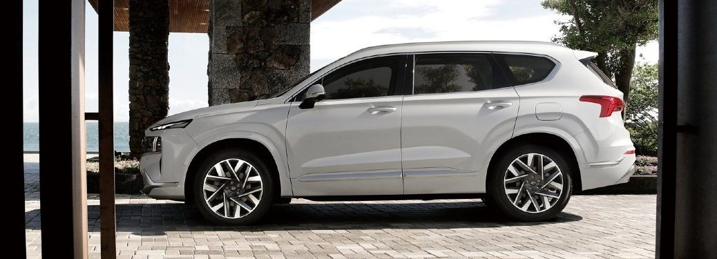 2021 Santa Fe parked by upscale house