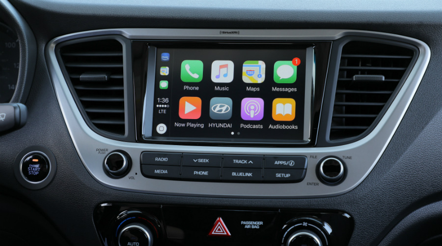 Infotainment system in the 2018 Hyundai Accent using Apple CarPlay