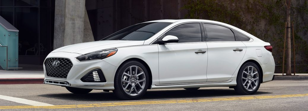Side view of a white 2018 Hyundai Sonata