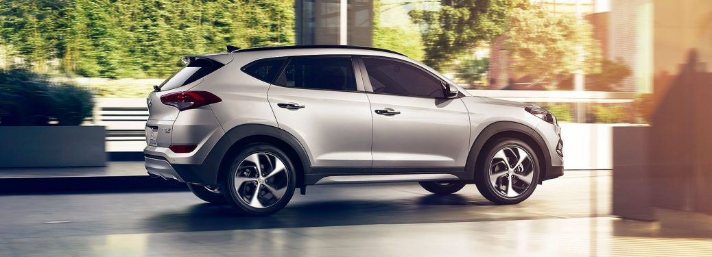 Side view of a silver 2018 Hyundai Tucson