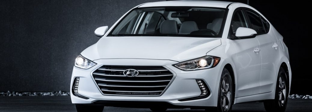 Front view of a white 2018 Hyundai Elantra