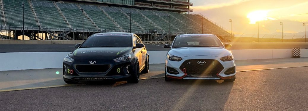 Hyundai Veloster N and Ioniq side by side on the track