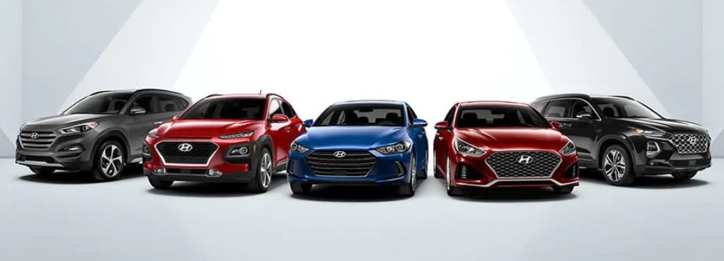 Lineup of new Hyundai vehicles