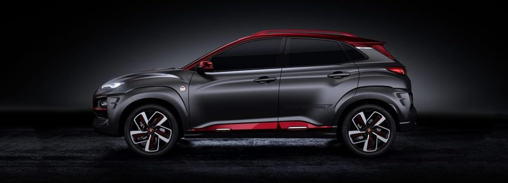 Side view of a 2019 Hyundai Kona Iron Man Edition on a black background