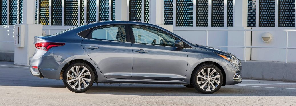 Side view of a silver Hyundai Accent
