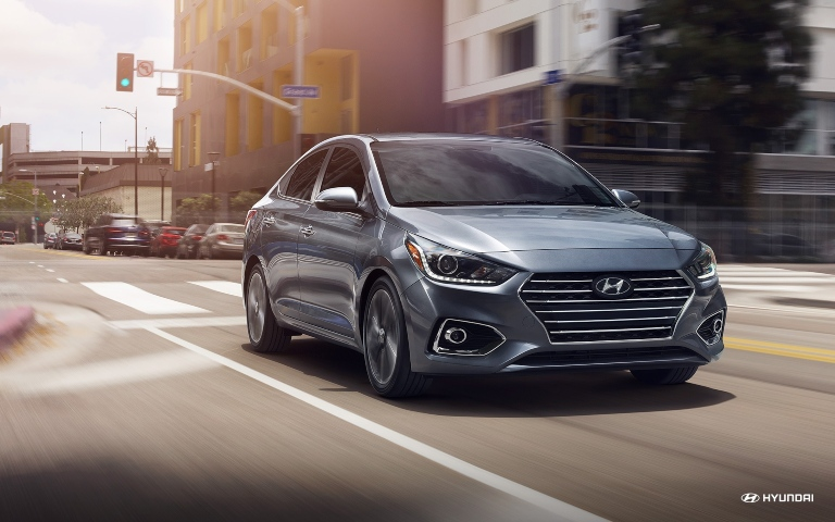 2020 Hyundai Accent Driving Down Street