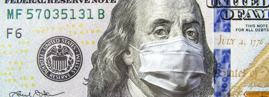 $100 bill with Ben Franklin wearing a medical mask