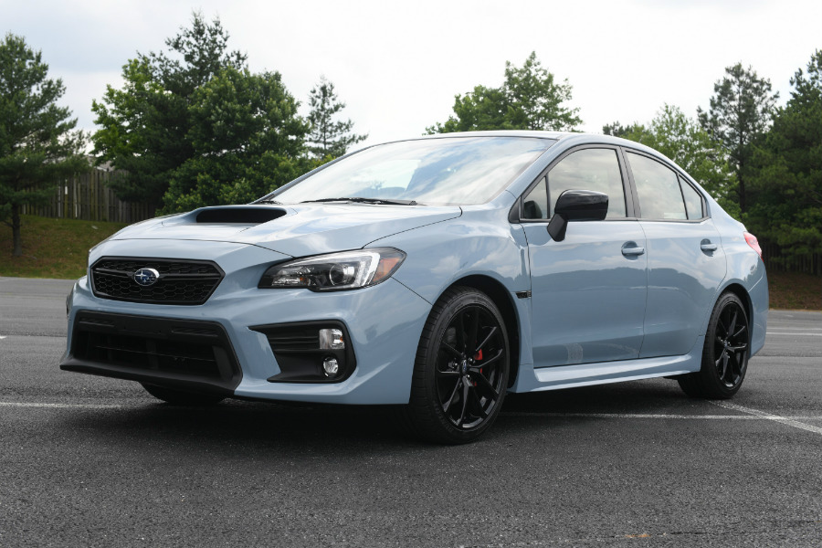 front and side view of 2019 Subaru WRX Series.Gray model