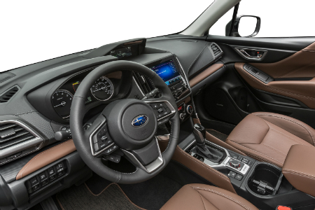 interior view of 2019 subaru forester steering wheel and dashboard