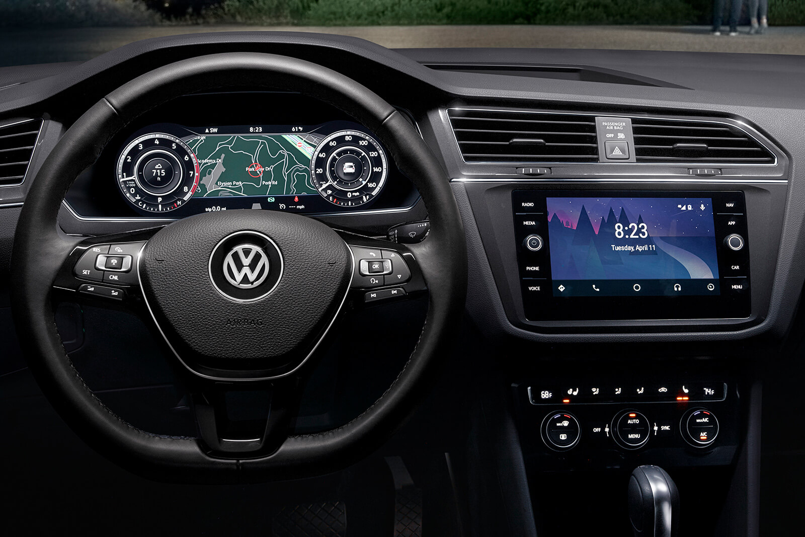 interior view of VW tiguan steering wheel and touch screen