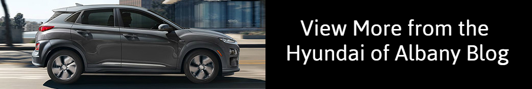 View More from the Hyundai of Albany Blog title and a grey 2020 Hyundai Kona EV