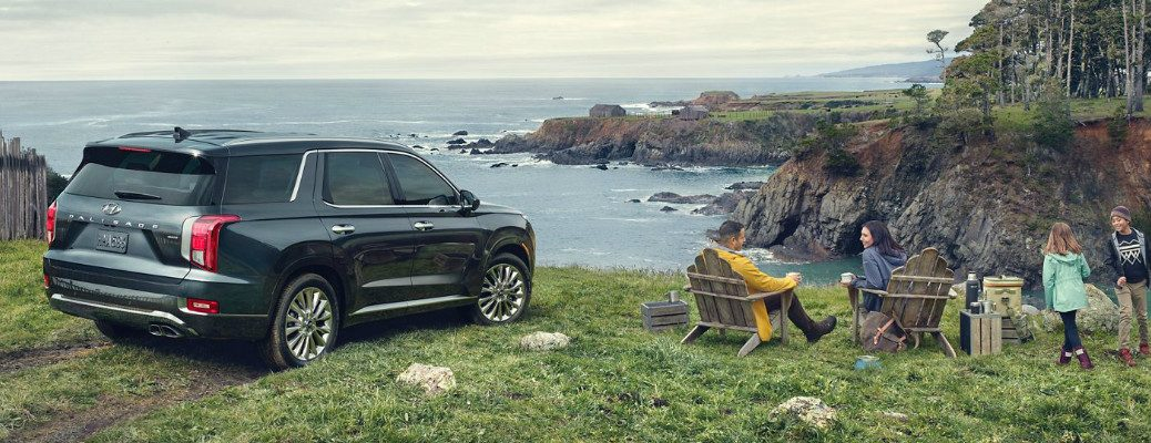 A family having a picnic near a dark grey 2020 Hyundai Palisade