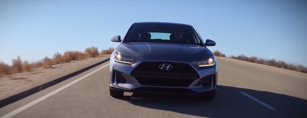 Front view of grey Hyundai Veloster