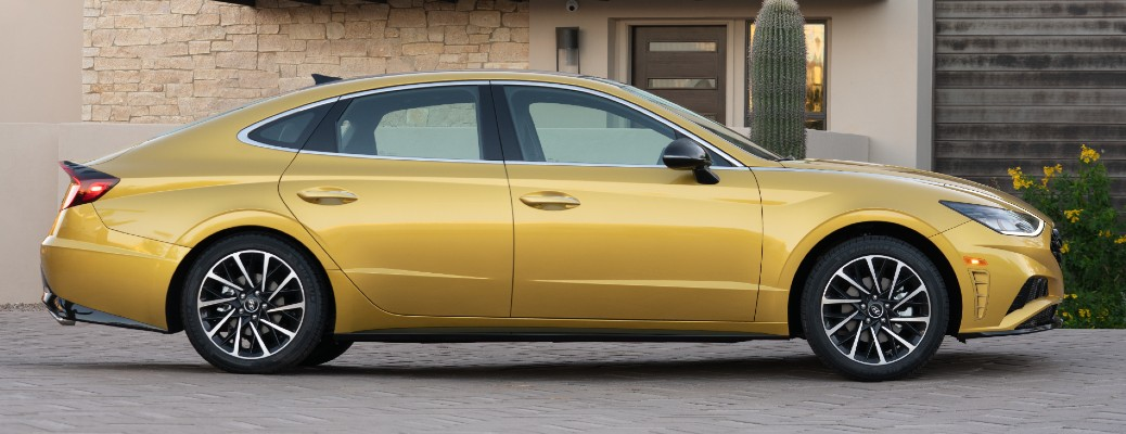 Side view of yellow 2020 Hyundai Sonata