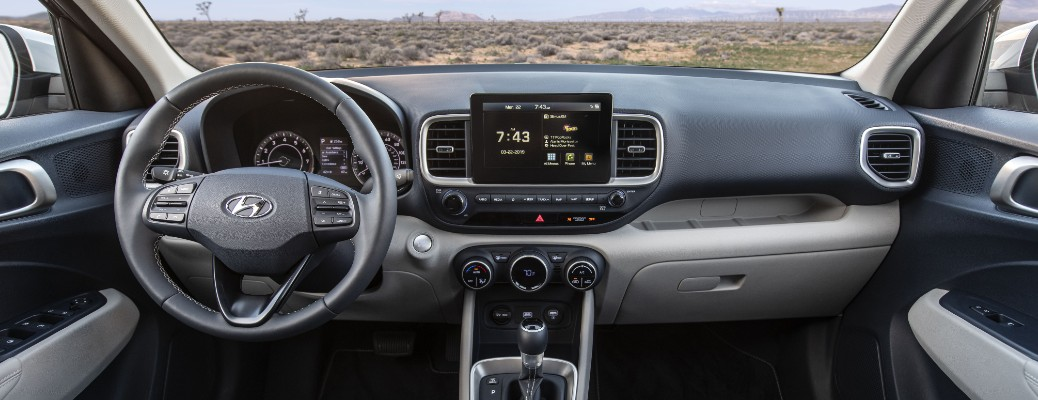 Steering wheel, gauges, and touchscreen in 2020 Hyundai Venue