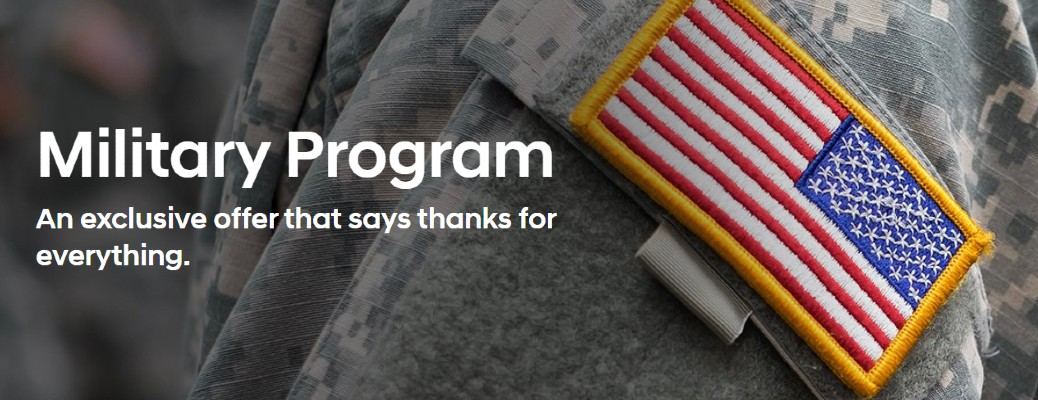 """Military Program: An exclusive offer that says thanks for everything."" title and tagline with a soldier in the background"