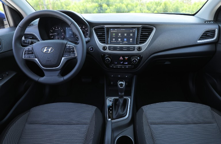 Steering wheel, gauges, and touchscreen in 2021 Hyundai Accent