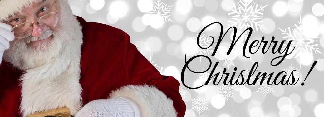 Santa Claus on White Winter Background with Black Merry Christmas Text