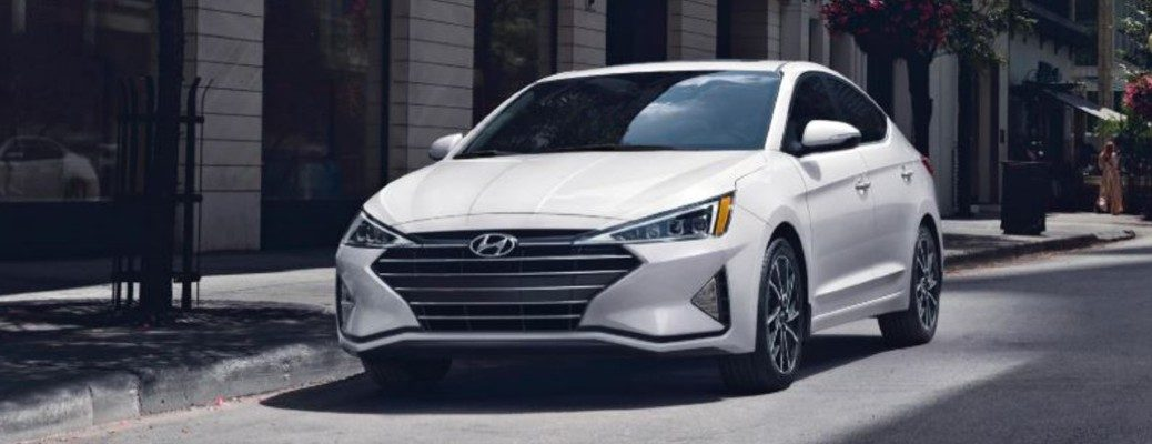 Exterior view of a white 2020 Hyundai Elantra