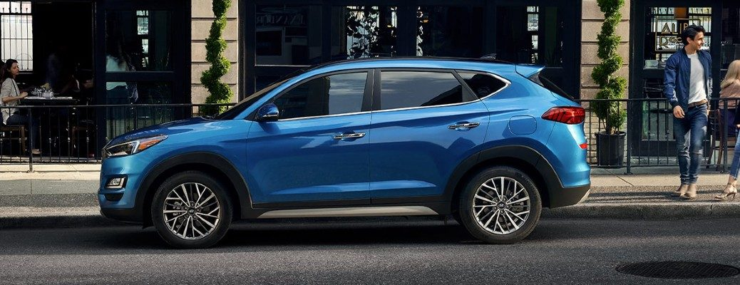 Exterior view of a blue 2020 Hyundai Tucson