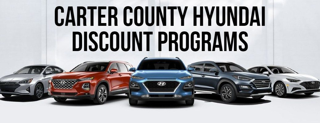 Carter County Hyundai Discount Programs banner with five Hyundai models shown