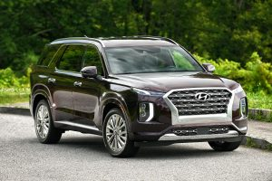 2020 Hyundai Palisade exterior front fascia passenger side on road with green trees