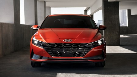 2021 Hyundai Elantra exterior front fascia in covered parking lot structure