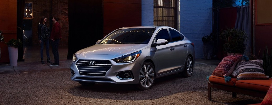 The front side of a gray 2021 Hyundai Accent.