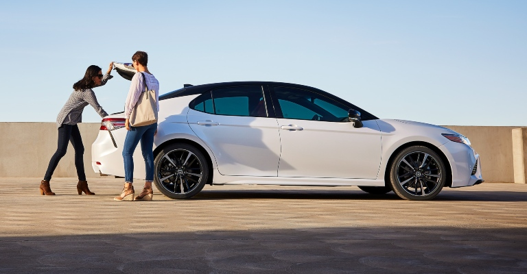 2020 Toyota Camry white side view two-tone