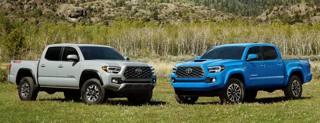 2020 Toyota Tacoma silver and Voodoo Blue side by side