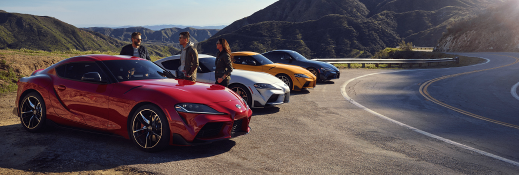 2020 Toyota GR Supra Models Exterior Passenger side Front Profiles with Drivers Outside