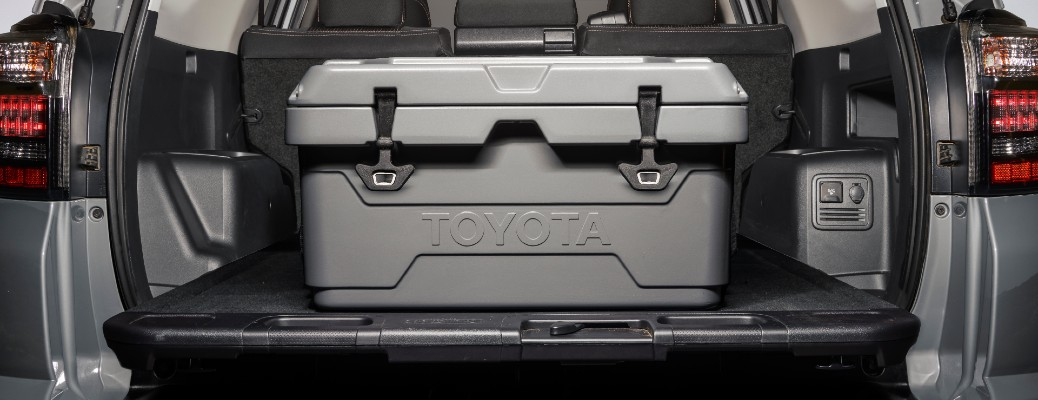 2021 Toyota 4Runner Trail Edition cooler loaded in the back of the trunk