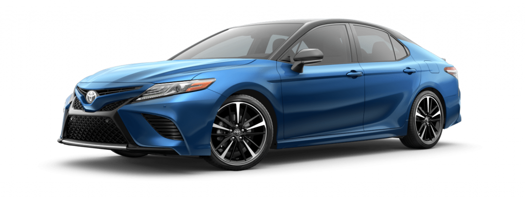 2018 Toyota Camry in blue streak with midnight black roof spoiler