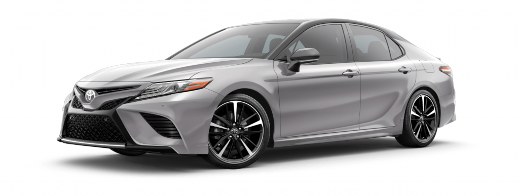 2018 Toyota Camry in celestial silver with midnight black roof spoiler