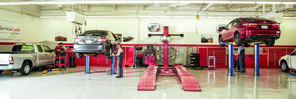 Toyota Vehicles Getting Serviced in the Service Center