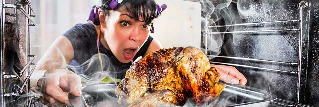 Woman Burning Thanksgiving Day Turkey in Oven
