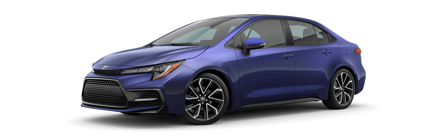 2020 Toyota Corolla Exterior Driver Side Front Profile in Blue Crush Metallic