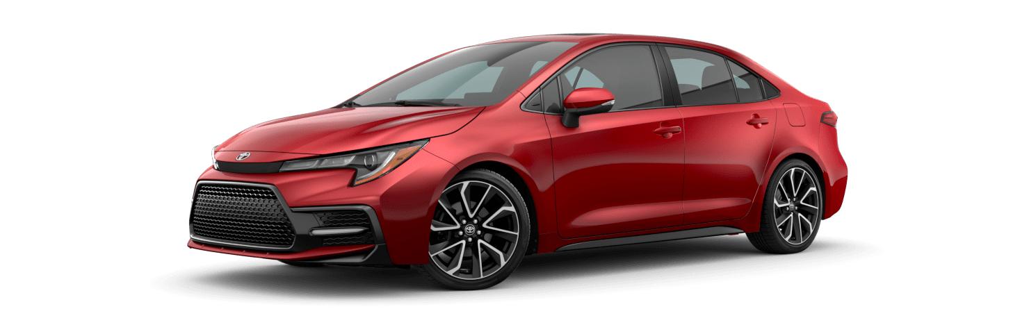 2020 Toyota Corolla Exterior Driver Side Front Profile in Barcelona Red Metallic