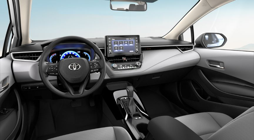 2020 Toyota Corolla Hybrid LE Interior Cabin Dashboard in Light Gray Fabric