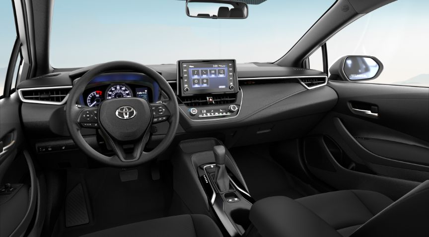 2020 Toyota Corolla LE Interior Cabin Dashboard in All Black Fabric