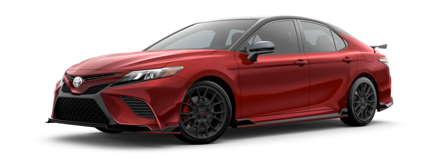 2020 Toyota Camry Exterior Driver Side Front Profile in Supersonic Red with Midnight Black Metallic Roof