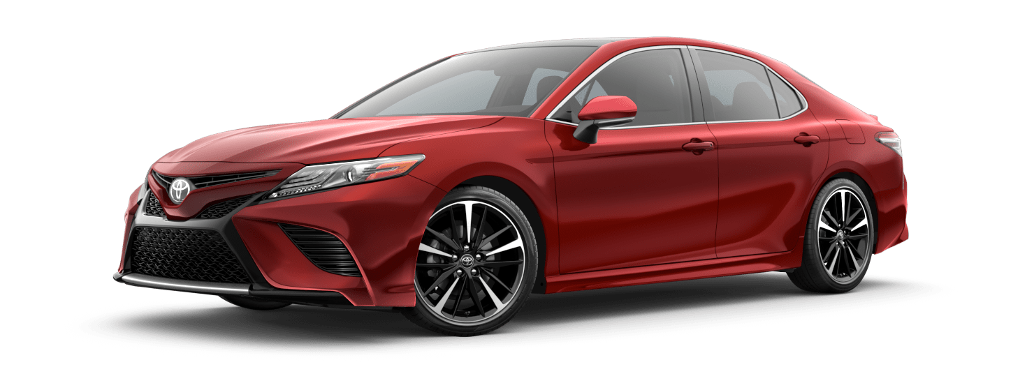 2020 Toyota Camry Exterior Driver Side Front Profile in Supersonic Red