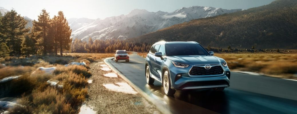 2020 Toyota Highlander driving on the road front view
