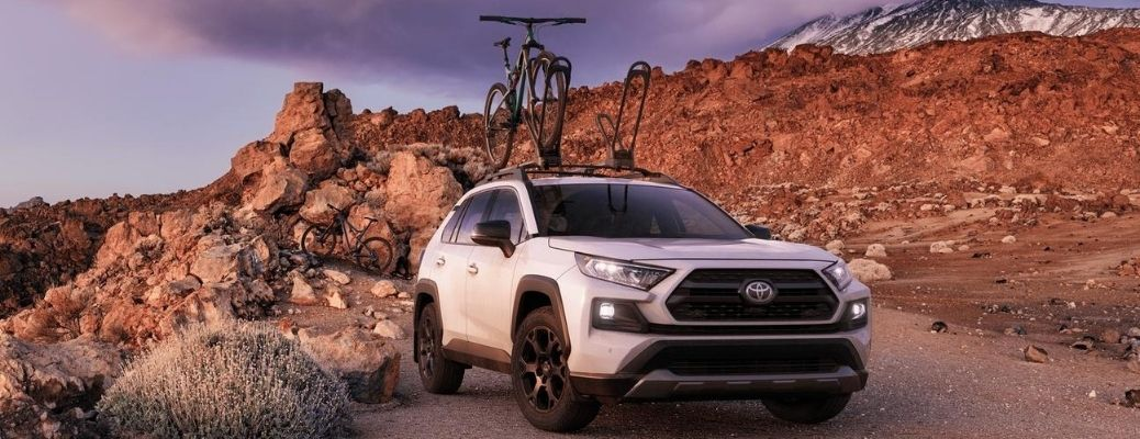 2020 Toyota RAV4 parked outside near cliffs and rocks