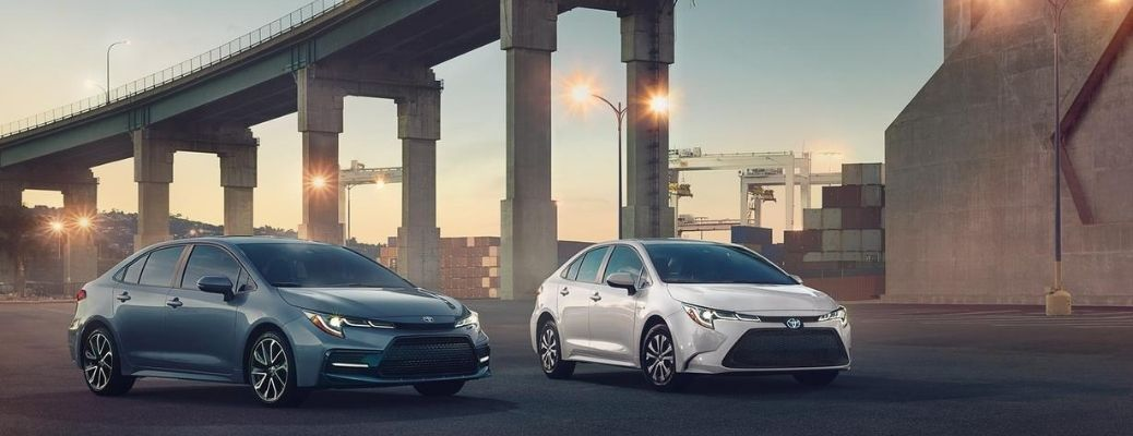 2020 Toyota Corollas parked side by side near a bridge